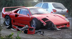Ferrari F40(?) Crashes On The Isle of Wight
