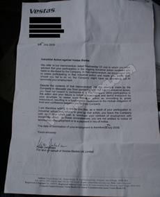 Vestas Sit-In: Copy of Dismissal Letter
